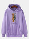 Mens Mechanical Bear Print Cotton Daily Drawstring Pullover Hoodie-7 Colors - Purple