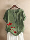 O-neck Flowers Print Button Plus Size Casual T-shirt - Green