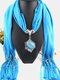 Bohemian Irregular Resin Accessories Alloy Base Women Tassel Pendant Scarf Necklace - #06