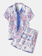 Mens Pink Baroque Print Vintage Revere Collar Two Pieces Outfits - Blue
