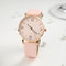Fashion Cute Women Watches Leather Band Rose Gold Case Large Three-Hand Dial Quartz Watch - Pink