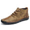 Men Hand Stitching Leather Non Slip Soft Sole Casual Ankle Boots - Khaki
