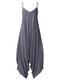 Solid Color Strap V-neck Plus Size Loose Jumpsuit for Women - Dark Grey