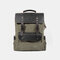 Men Genuine Leather Multi-function Travel Backpack - Army Green