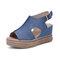 Women Retro Peep Toe Hollow Slingback Buckle Platform Sandals - Blue