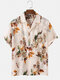 Mens Floral Print See Through Button Down Mesh Sheer Shirt With Pocket - White