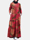 Women Ethnic Calico Print Pocket Patchwork Casual Maxi Dress - Red