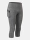 Women Quick-Drying High Elastic Skinny Sports High Waist Cropped Pants With Side Pocket - Grey