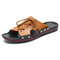Men Pure Color Leather Slip Resistant Soft Sole Casual Beach Slippers - Yellow Brown