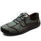 Men Retro Hand Stitching Non Slip Casual Leather Shoes - Green
