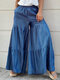 Plus Size Solid Elastic Waist Pocket Tiered Palazzo Pants - Blue