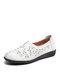 Solid Comfortable Hollow-out Single Shoes Floral Flats For Women - White(Hollow-out)