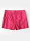 Diamond Geometric Print Mesh Lining Zipper Pockets Quick-Drying Holiday Swimming Trunks - Rose