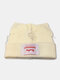 Men & Damen Cute Piggy Katze Ohren Plain Color Warm halten Winddicht gestrickt Hut - Weiß