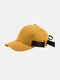 Unisex Cotton Solid Color Wide Adjustment Band Sunshade Baseball Cap - Yellow