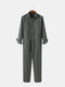 Mens Solid Color Lapel Collar Personality Slim Fit Jumpsuits - Gray