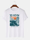 Mens National Park Letter Graphic 100% Cotton Casual Short Sleeve T-Shirts - White