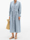 Solid Color Button Long Sleeves Casual Dresses for Women - Blue