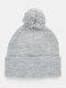 メンズ&レディースプレーンカラー保温防風ウールボールニット帽 - グレー