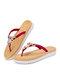 Pantofole infradito per vacanze casual con decorazione perline da donna - Rosso