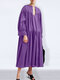 Casual Solid Color V-neck Long Sleeve Pleated Dress - Purple