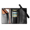 Men Trifold Long Wallet Card Holder Clutch Bag - Black