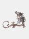 Three-dimensional Metal Dragon-Shaped Without Pierced Ear Hook Vintage Animal-Shape Women Earrings - Silver