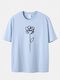Plus Size Mens Line Drawing Rose Print Casual 100% Cotton Short Sleeve T-Shirts - Blue