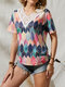 Geometric Print Lace Embroidery Patchwork V-neck Plus Size Casual T-shirt - Pink