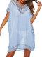 女性の中空Vネック薄い日焼け止めドレスビーチカバーアップ - 青