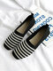 Women Square Toe Soft Shallow Ballet Shoes Soft Sole Comfy Knitted Mesh Splicing Casual Flats - Black