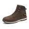 Men Outdoor Slip Resistant Lace Up Work Style Ankle Boots - Dark Brown