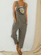 Butterfly Daisy Print Straps Casual Jumpsuit With Pockets - Greyish-green