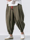 Mens Solid Color Baggy Loose Drawstring Casual Cotton Harem Pants - Army Green