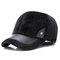 Men Winter Warm Velvet Leather Hat Keep Ear Warm Vintage Outdoor Sports Snow Baseball Cap - Black