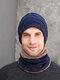 男性2 / 3PCSPlusベルベット暖かく冬の首の保護ヘッドギアスカーフフルフィンガーグローブニット帽ビーニー - #02