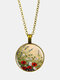 Vintage Glass Printed Women Necklace Dog's Tail Grass Floral Pendant Necklace Jewelry Gift - Bronze