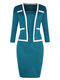 Casual Solid Color Square Collar Plus Size Dress for Women - Blue