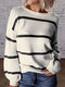 Striped Long Sleeve O-neck Casual Sweater For Women - Black