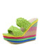 Women Fashion Woven Double Band Rainbow Espadrille Platform Wedges Slippers - Green