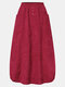 Corduroy Solid Color Elastic Waist Pocket Casual Skirt For Women - Wine Red