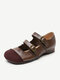 Women Vintage Ethnic Splicing Leather Double Strap Metal Buckle Comfy Round Toe Casual Flat Shoes - Brown
