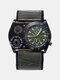 Vintage Compass Thermometer Military Watch Adjustable Leather Men Quartz Watch - Green
