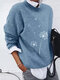 Flower Print Long Sleeve O-neck Casual Sweater For Women - Blue