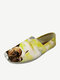 Women Comfy Animal-print Dog Square Toe Canvas Elastic Band Loafers Shoes - Brown