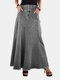 Solid Color Patchwork Button Casual Skirt With Pocket For Women - Gray