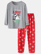 Cute Snowman Printed Comfortable Home Family Sets Two-Piece Christmas Loungewear - Gray