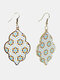 Vintage Baroque Alloy PU Leather Geometric-shape Argyle Floral Printing Earrings - #10