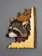 1 PC Animal Sculpture Artisanat Tenture murale Sculpture 3D Raton Laveur Ours Cerf Loup Peint À La Main Décorations pour La Maison Salon - #03