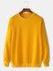 メンズプレーンソリッドカラーストライプテープサイドプルオーバースウェットシャツ - 黄